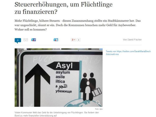 steuererhöhung um flüchtlinge zu finanzieren