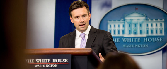 White House press secretary Josh Earnest speaks during the daily news briefing at the White House in Washington, Friday, Aug. 28, 2015. Earnest discussed the state of Tropical Storm Erica in the Caribbean and answered questions on other topics. (AP Photo/Andrew Harnik)