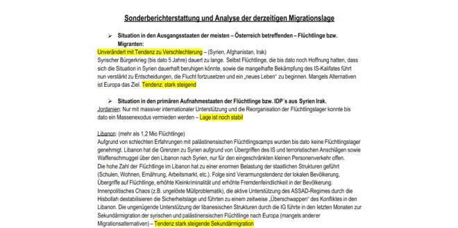 Sonderbericht der dezeitigen Migrationslage 1