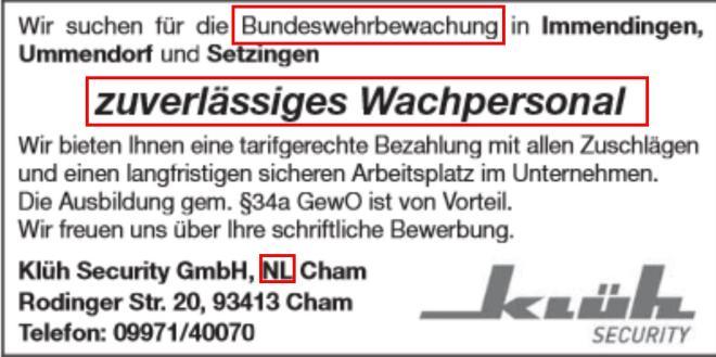Wachpersonal zur Bundeswehrbewachung gesucht