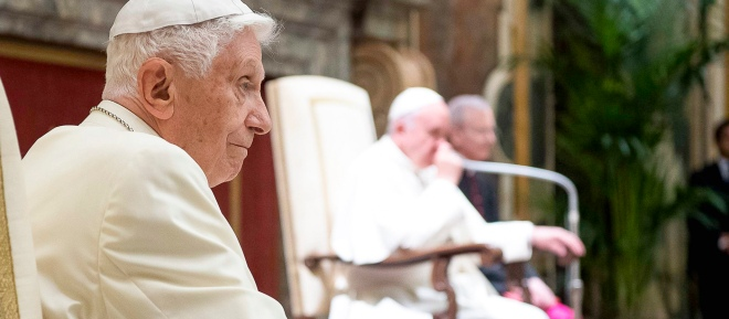 Feier des 65. Jahrestags der Priesterweihe von Benedikt XVI. im Apostolischen Palast im Vatikan am 28. Juni 2016.